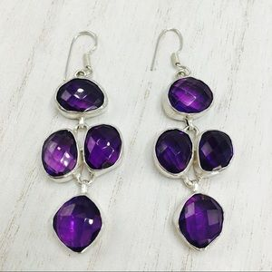 Silver 925 amethyst earrings sterling silver